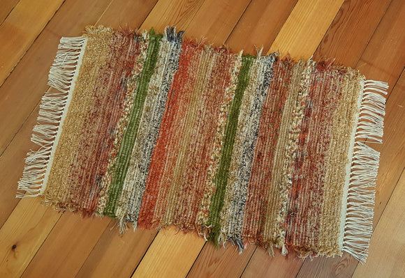 "24"" x 36"" Burnt Orange U.S. HAND WOVEN Small Area Rag Rug"