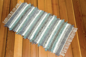 "24"" X 39"" Aqua & Grey U.S. HAND WOVEN Small Area Rag Rug"