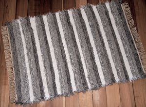 "36"" x 52"" Gray, Silver & White U.S. HAND WOVEN Textured Throw Rag Rug"