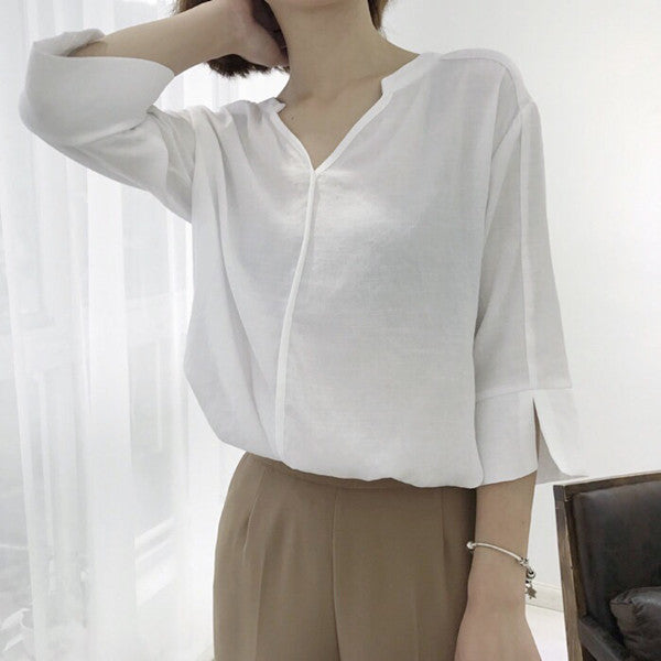 Korean cotton V-neck shirt KF50069