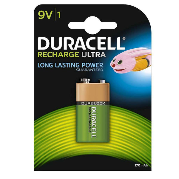 Duracell Rechargeable Ultra 9V Batteries NiMH 170mAh HR22 Duralock 1 Pack