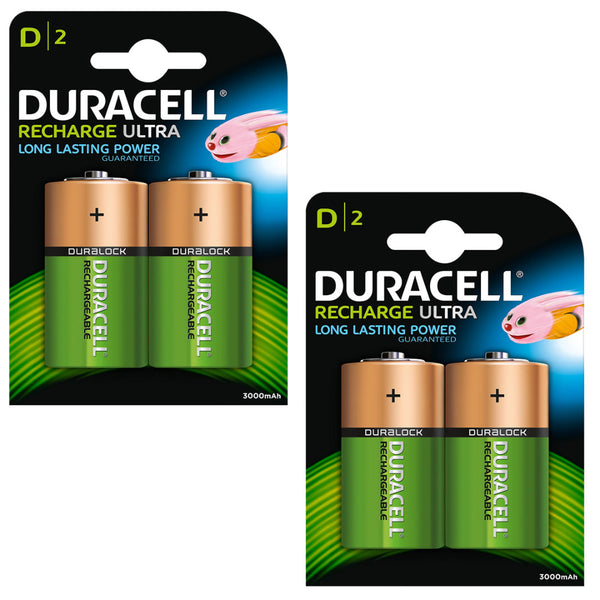 Duracell Rechargeable Ultra D Batteries NiMH 3000mAh HR20 Duralock 4 Pack