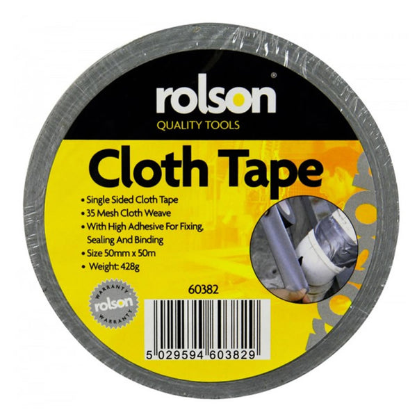 Duck Duct Gaffa Gaffer Waterproof Cloth Tape Silver 50mm x 50m Rolson 60382