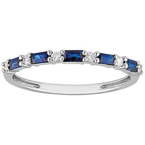 0.37ct Sapphire & Diamond Eternity in 9ct White Gold Claw Set Rings