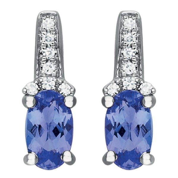 0.45ct Tanzanite & Diamonds Earrings in 9ct White Gold Drop Studs