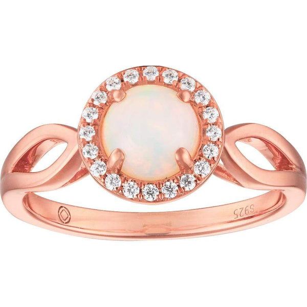 0.60ct Opal Halo Ring in 9ct Rose Gold Halo Rings