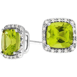 3.32ct Peridot & Diamond Earrings in 9ct White Gold