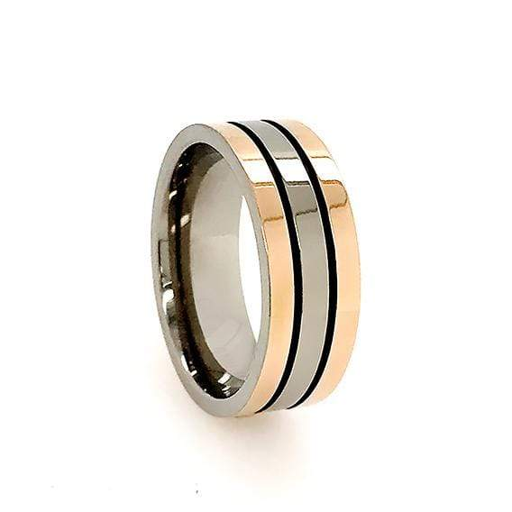 Titanium & Plated Rose Gold Wedding Band Mens Titanium Rings