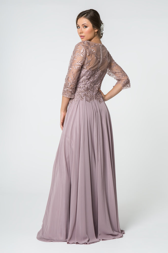 Jeweled Waist Long Sleeves Evening Dress GSGL2810