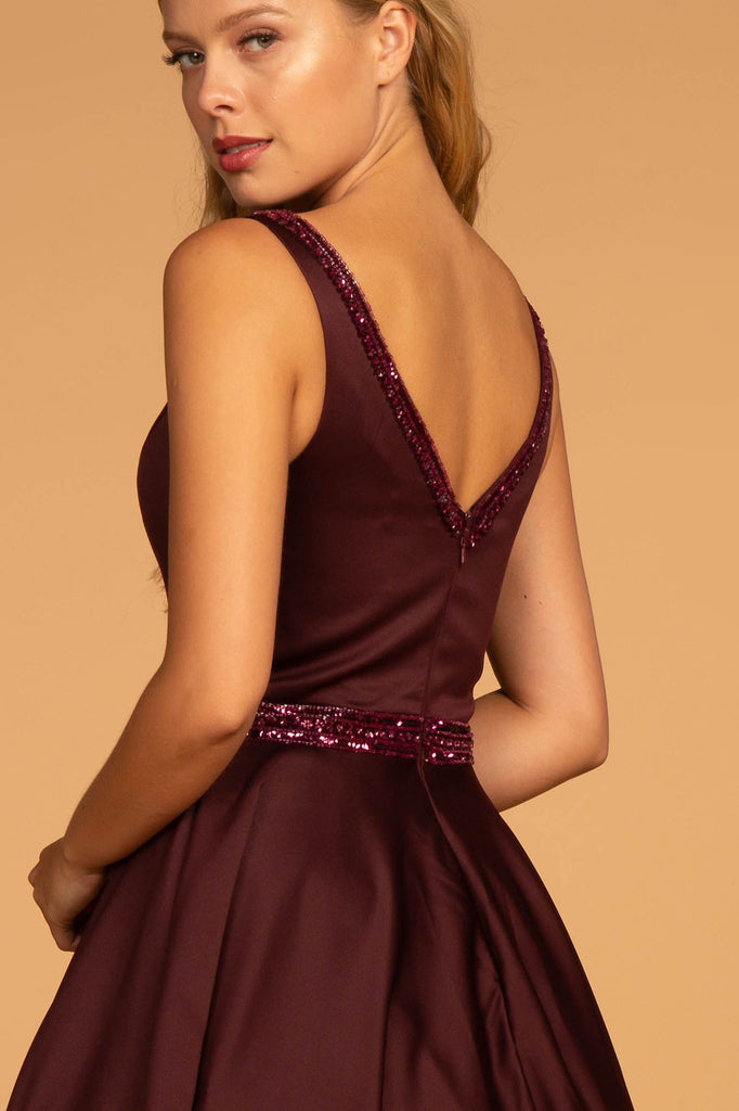 NEW Sleeveless Jeweled V-Neckline Long A-line Prom Dress GSGL2532