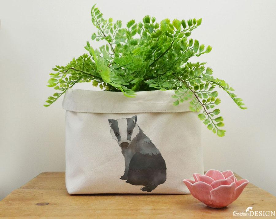 Badger Canvas Storage Box by Ceridwen Hazelchild Design