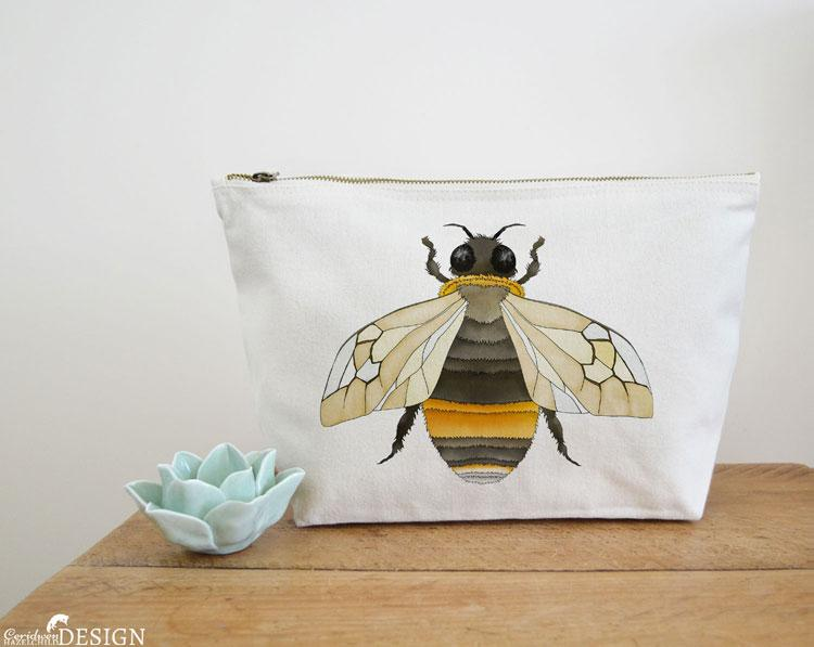 Bumble Bee Canvas Wash Bag by Ceridwen Hazelchild Design.