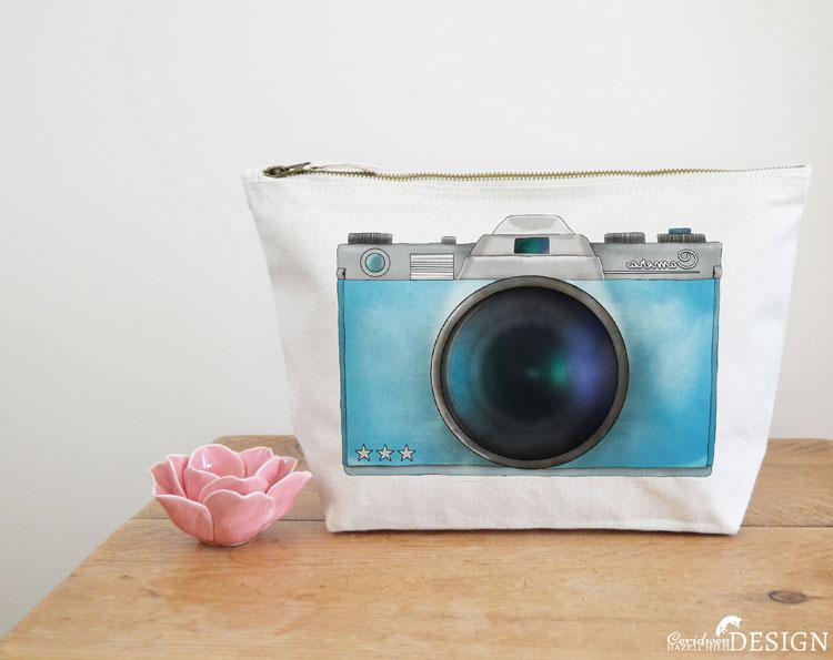 Camera Canvas Wash Bag by Ceridwen Hazelchild Design.