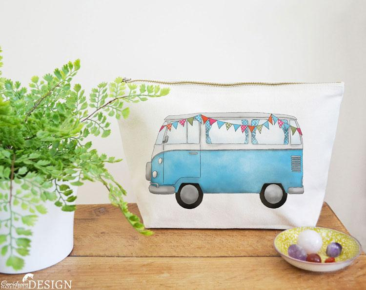 Campervan Canvas Wash Bag by Ceridwen Hazelchild Design.