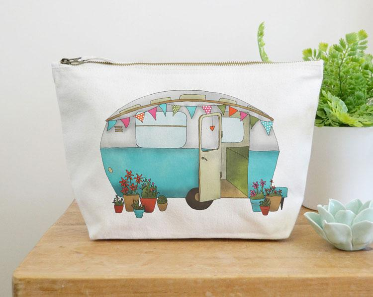 Caravan Canvas Wash Bag by Ceridwen Hazelchild Design.