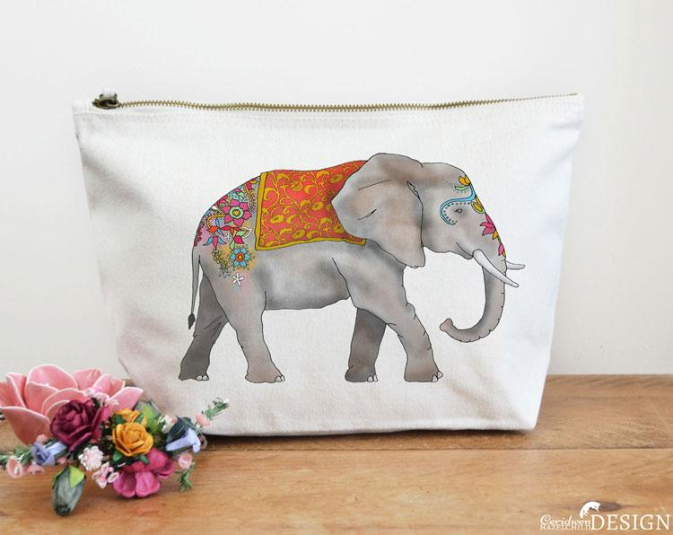 Elephant Canvas Wash Bag by Ceridwen Hazelchild Design.