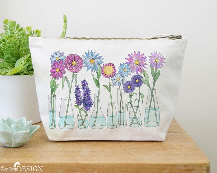 Flowers Canvas Wash Bag by Ceridwen Hazelchild Design.