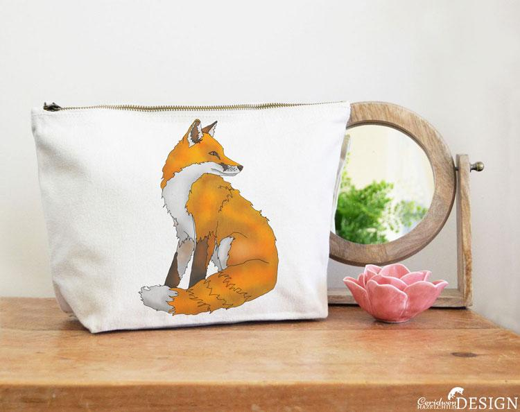 Fox Canvas Wash Bag by Ceridwen Hazelchild Design.