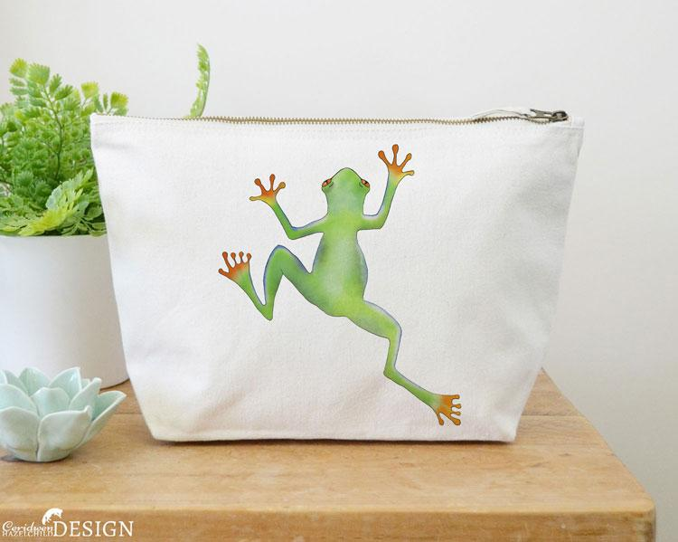 Tree Frog Canvas Wash Bag by Ceridwen Hazelchild Design.