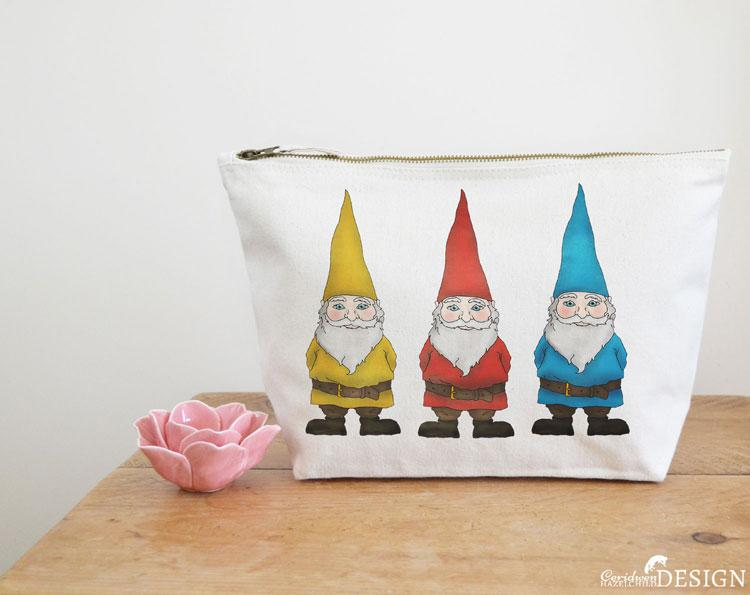 Gnomes Canvas Wash Bag by Ceridwen Hazelchild Design.