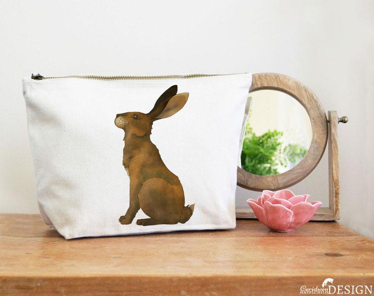 Hare Canvas Wash Bag by Ceridwen Hazelchild Design.