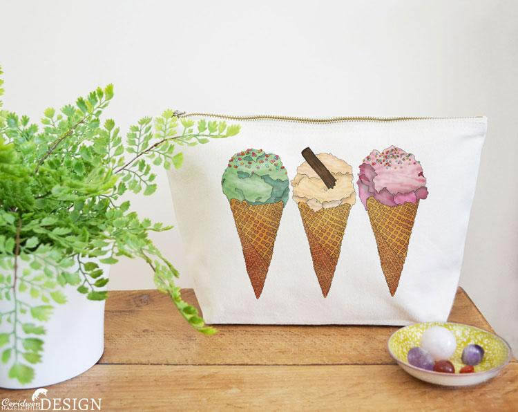 Ice Cream Canvas Wash Bag by Ceridwen Hazelchild Design.