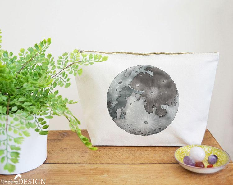 Moon Canvas Wash Bag by Ceridwen Hazelchild Design.