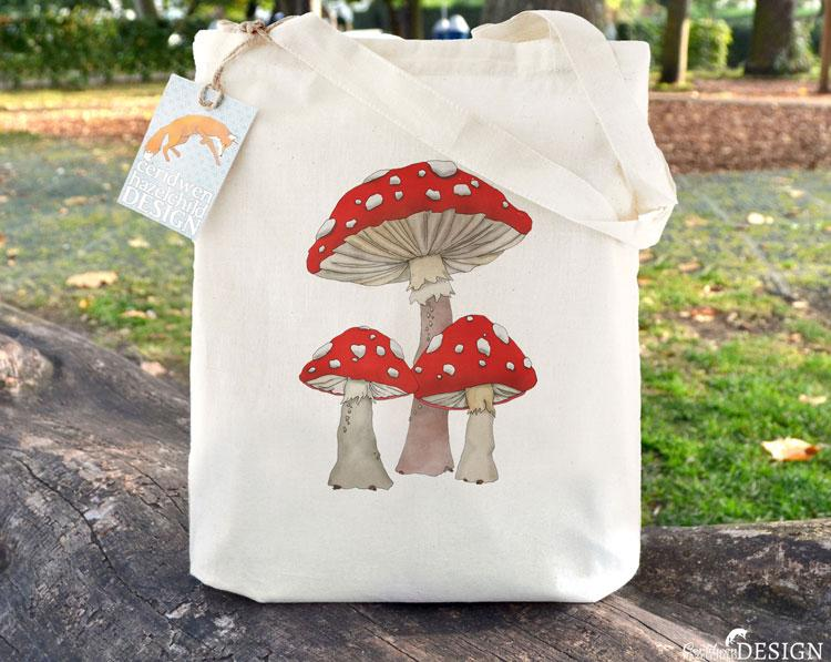 Toadstool Mushrooms Tote Bag by Ceridwen Hazelchild Design.