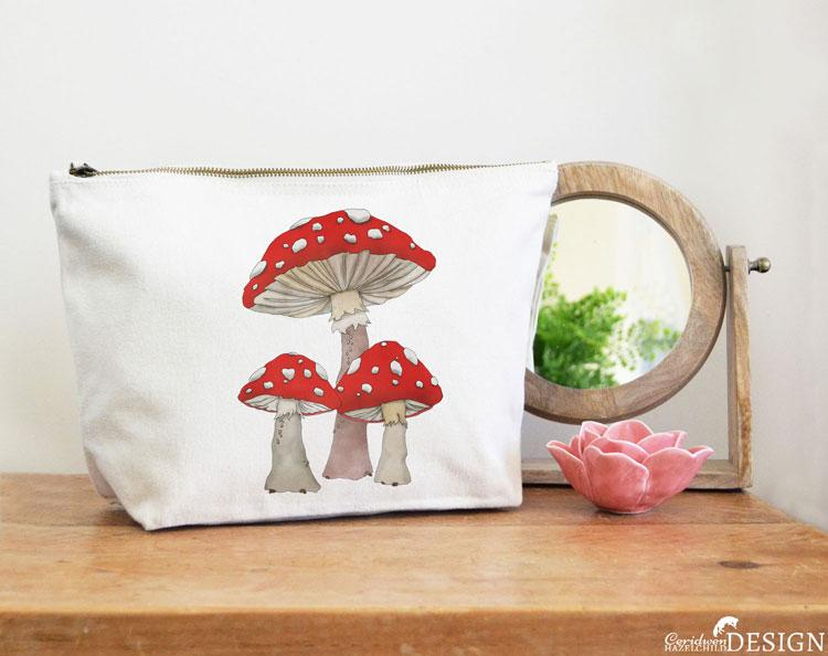 Toadstool Mushrooms Canvas Wash Bag by Ceridwen Hazelchild Design.