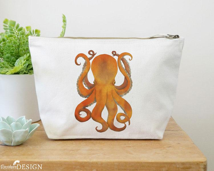 Octopus Canvas Wash Bag by Ceridwen Hazelchild Design.