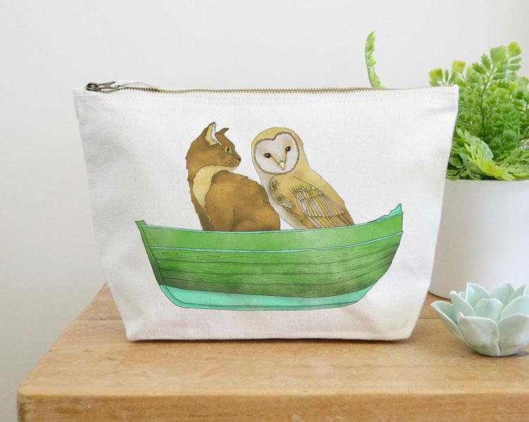 Owl and Pussy Cat Canvas Wash Bag by Ceridwen Hazelchild Design.