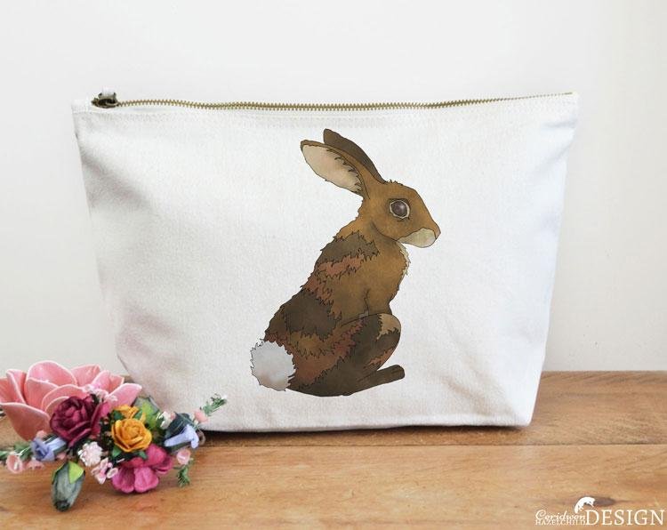 Rabbit Canvas Wash Bag by Ceridwen Hazelchild Design.
