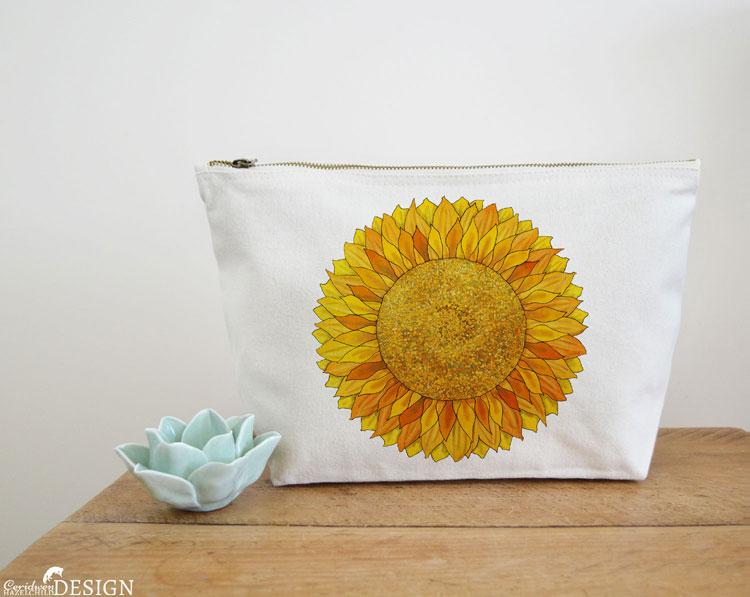 Sunflower Canvas Wash Bag by Ceridwen Hazelchild Design.