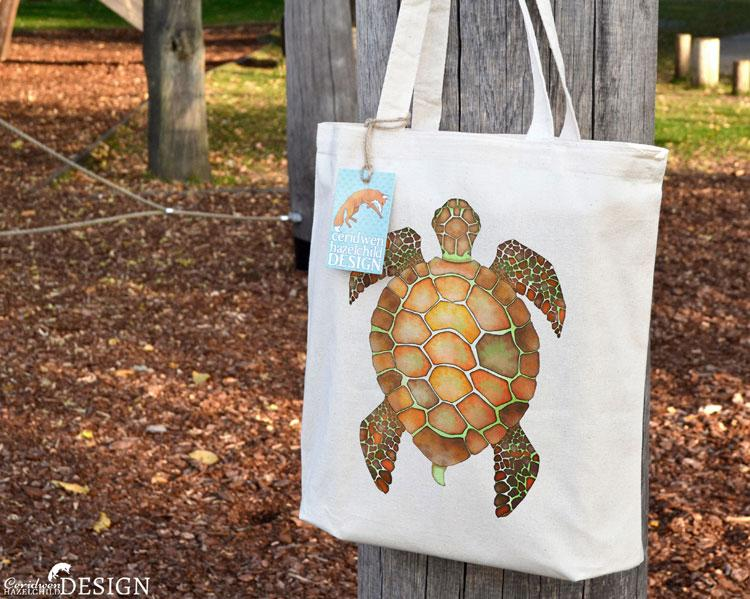 Turtle Tote Bag by Ceridwen Hazelchild Design.