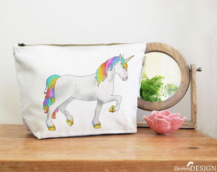 Unicorn Canvas Wash Bag by Ceridwen Hazelchild Design.