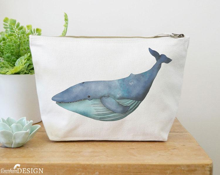 Blue Whale Canvas Wash Bag by Ceridwen Hazelchild Design.