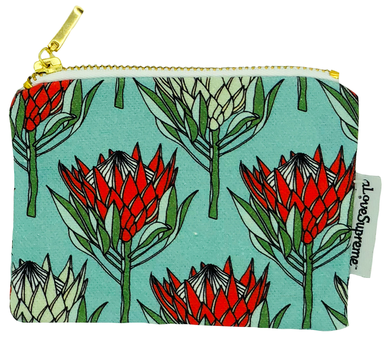 aLoveSupreme Coin Purse - King Protea Red on Blue