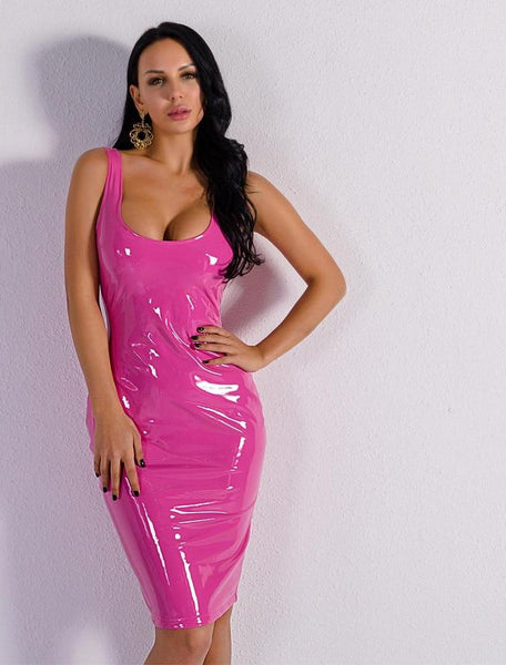 Round neck strappy bodycon Latex short dress