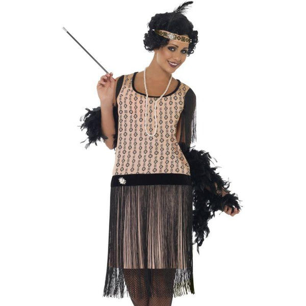1920s Coco Flapper Costume - UK Dress 8-10 Womens Black