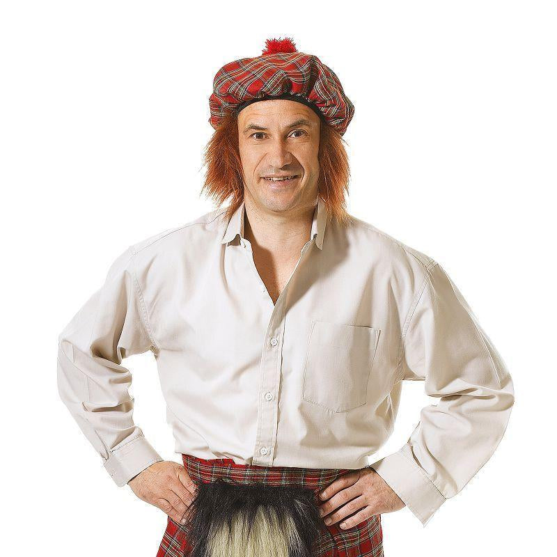 Mens Scots Kilt + Hat Adult Costume - Male - One Size Halloween Costume