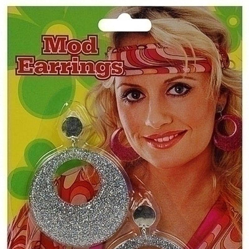 Womens Silver Mod Glitter Ear Rings (Costume Accessories) - Female - One Size Halloween Costume