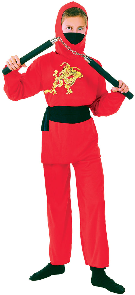 Ninja Red Medium Childrens Fancy Dress Costumes Girls 7 9 years Pink