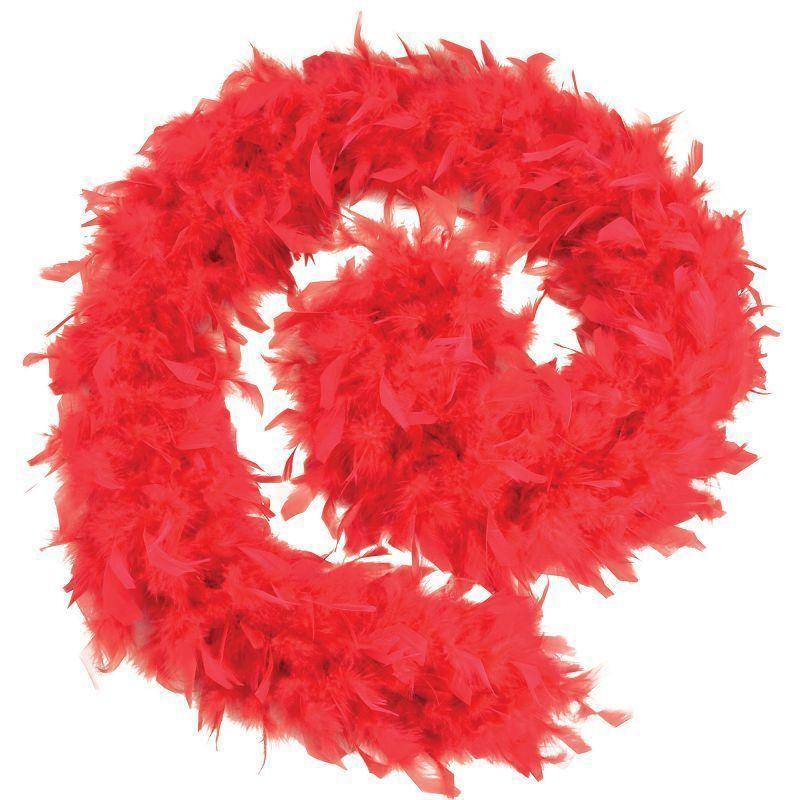Womens Feather Boa 80g. Red Budget. (Costume Accessories) - Female - One Size Halloween Costume-Costume Accessories-MAD USA