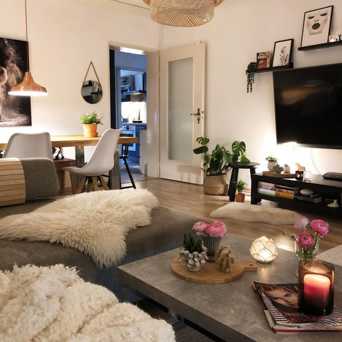 Boho living room cowhide rugs