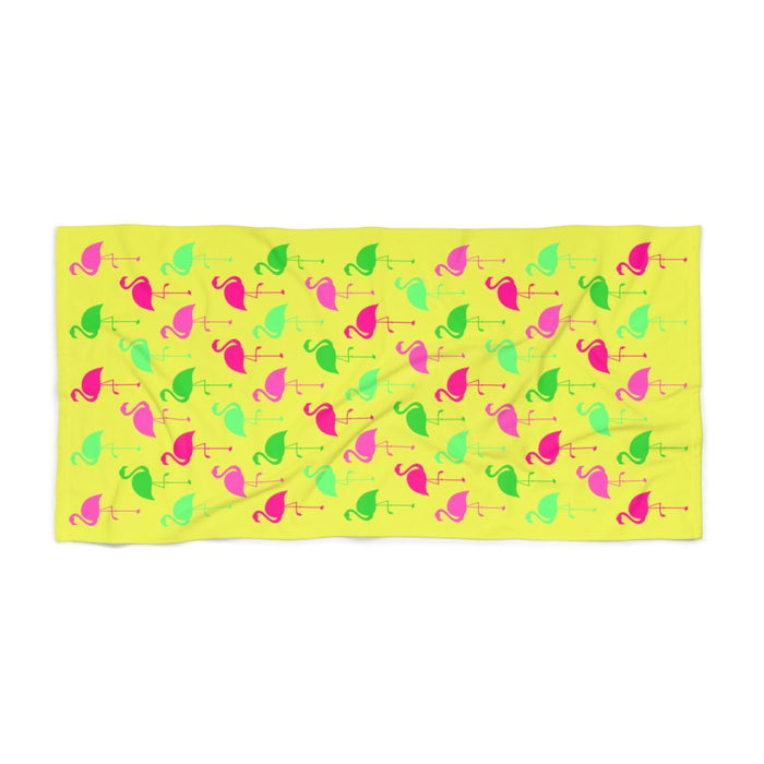 36 x 72 yellow beach towel with green and pink flamingos