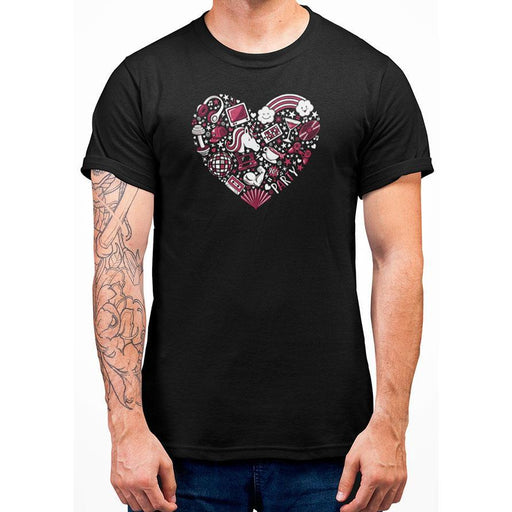 Black  100% pre-shrunk cotton t-shirt with red heart image