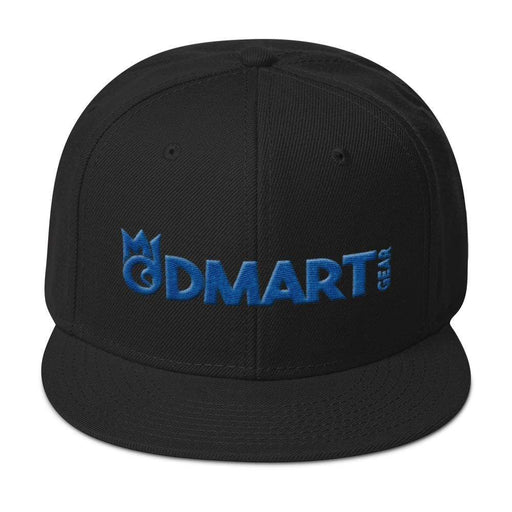 Black 6 panel snapback hat with Black visor blue embroidered dMart Gear Logo