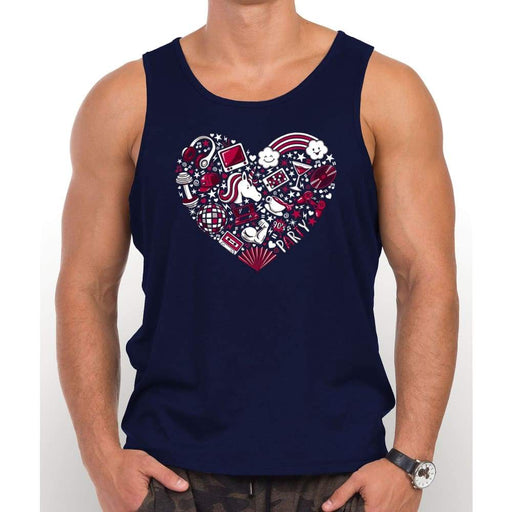 Navy Blue 100% cotton tank top with image of red heart