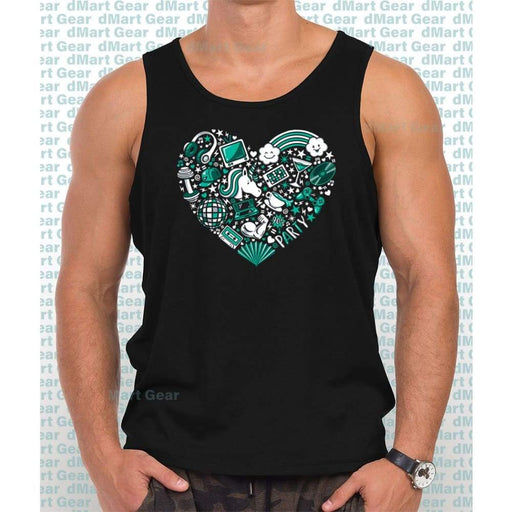 Black 100% cotton tank top with image of a teal heart