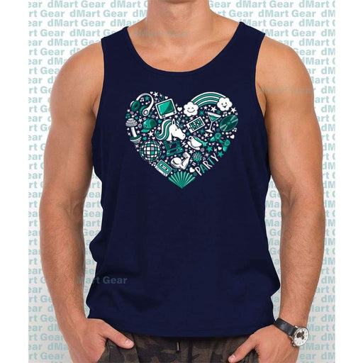 Navy Blue 100% cotton tank top with image of a teal heart